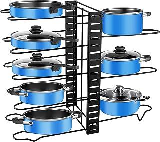 Porte-casseroles, 3 DIY Méthodes Porte-casseroles Support en Acier Inoxydable Rangement Cuisine avec 8 Compartiments Régla...