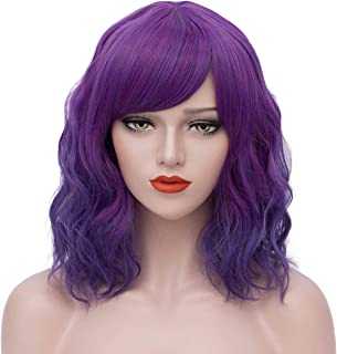 Perbeauty Purple Wigs for Women Ombre Short Curly Wavy Bob Hair Wig with Bangs Pastel Anime Lolita Party Wigs for Halloween Cosplay (Purple) DX033PR