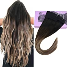 VeSunny 14inch Fish Line Layered Hair Extensions Straight Remy Human Hair Ombre Black Fading to Dark Brown Mix Ash Blonde #18 Secret Halo Extensions 11inch Width 80G/Set