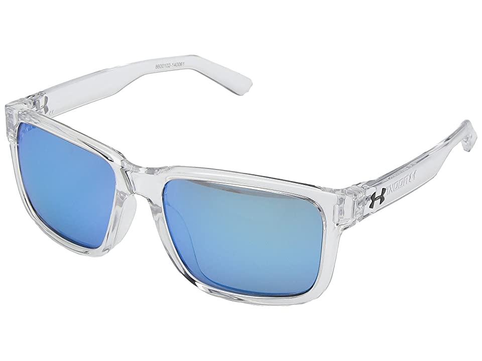Under Armour Kids Rookie (Little Kid/Big Kid) (Shiny Crystal Clear Frame/Gray/Blue Multiflection Lens) Athletic Performance Sport Sunglasses