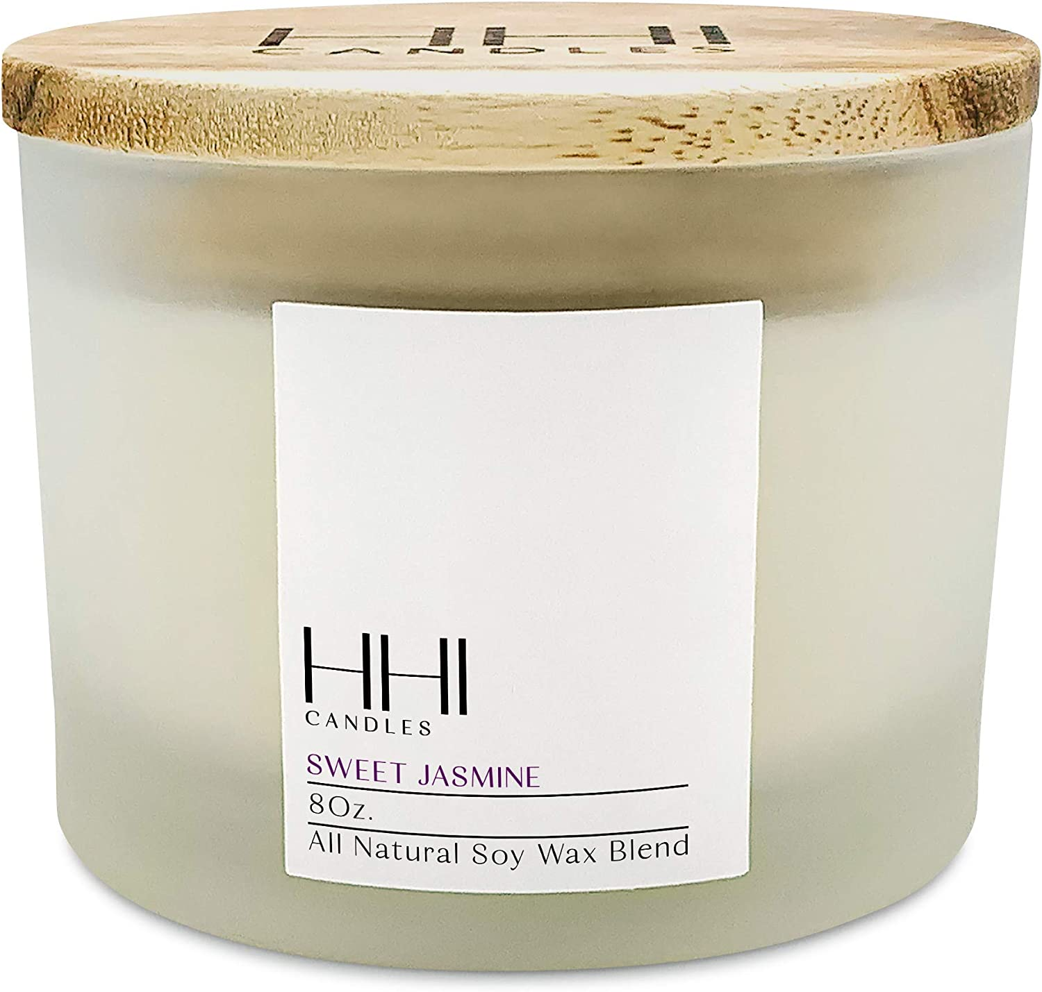 HHI Candles Sweet Jasmine Scented Candles. All Natural Soy Wax Candle with Thick Frosted Glass and Bamboo Wood Lid. 1 Wick Candle Size 8 Oz. Product Name