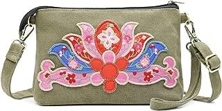 Silkarea Vintage Canvas Embroidered Small Crossbody Bags for Women Handbag Shoulder Bag Clutch Wristlet Wallet Phone Purse