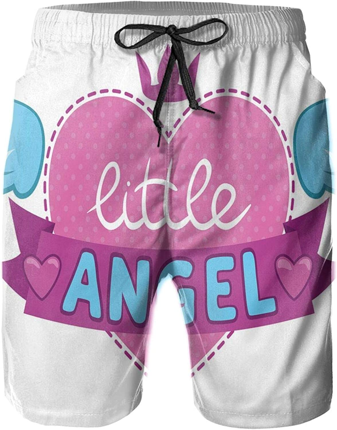 Little Angel Illustration with Girlish Design Elements Pink Heart and Wings Drawstring Waist Beach Shorts for Men Swim Trucks Board Shorts with Mesh Lining,XXL