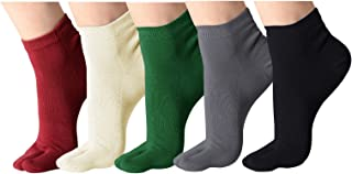 Flip Flop Calcetines de algod/ón el/ástico calcetines del dedo del pie-dedo pulgar separado elegante de la diversi/ón casual Tabi calcetines del dedo del Paquete de 3 Negro + blanco + gris