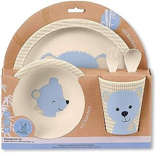 Yidata 5 St/ück Bambus Geschirr Set f/ür Kinder Kleinkind Kinder Cartoon Besteck Geschirr