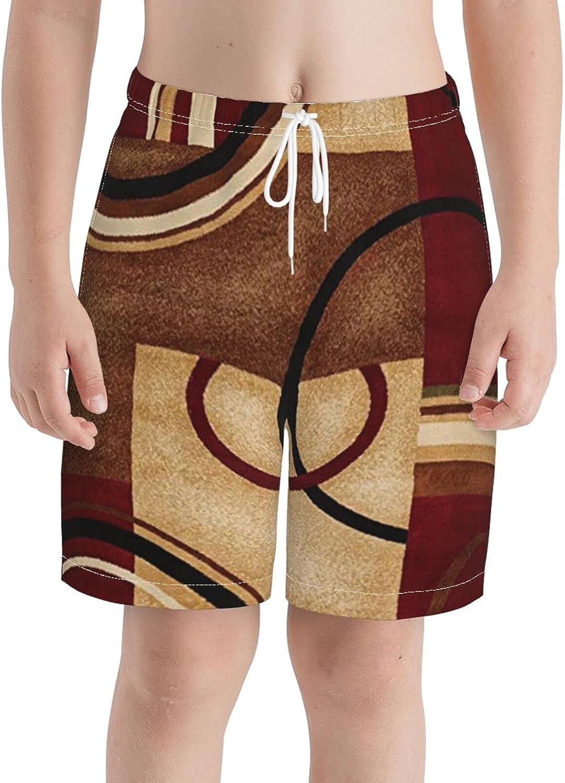 KAETZRU Boys Swim Trunks Beach Board Shorts Persian Abstract Brown Modern Geometric Kids Casual 3D Swimwear
