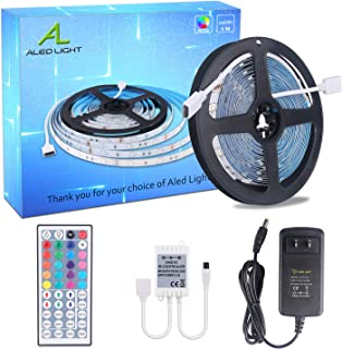 LED Strip Lights Kit, ALED LIGHT LED Flexible Light Strip 16.4Ft/5M 5050 150LEDs Non-Waterproof RGB Strip Lighting with Remote DC 12V Power Supply for DIY/Christmas/Party/Decoration (1 Pack)