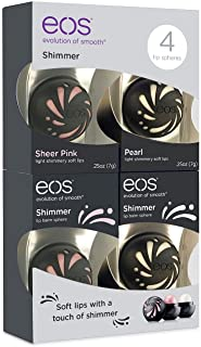 EOS Shimmer Lip Balm Sphere .25 oz - 4 Pack - 2 of Sheer Pink and 2 of Pearl
