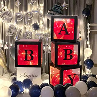 Crenics Baby Shower Boxes Party Decorations – 4 pcs Black Edge Transparent Balloons Décor Boxes with Letter, 50 Balloons, Individual BABY Block for Boy Girl Bridal Showers Party Gender Reveal Backdrop
