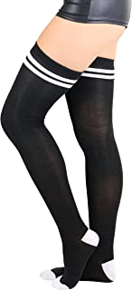 Women's Ribbed Athletic Thigh Highs With Stripes At The Top