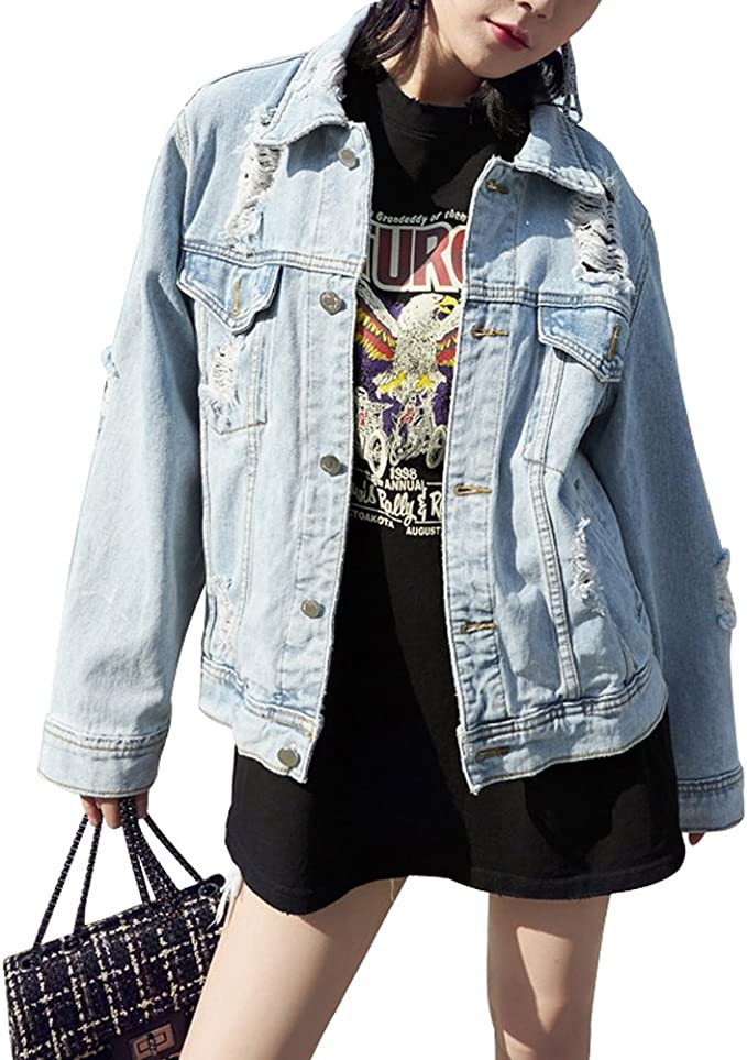 Vamp your wardrobe with Street Styles | Ripped Jean Jacket for fall or winter | Casual Denim Jacket cute for school outfits
