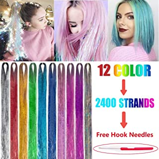 Caykay Hair Tinsel Strands Kit 2400 Strands 12 Colors Glitter Hair Extensions 40'' Sparkling Shiny Hair Tinsel Kit with Tools (2400 Pieces)