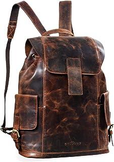 """STILORD Austin"""" Rucksack Laptop Leder 13.3 Zoll Frauen Männer Lederrucksack Daypack für DIN A4 Ordner für Schule Uni Arbeit, Farbe:Zamora - braun"""