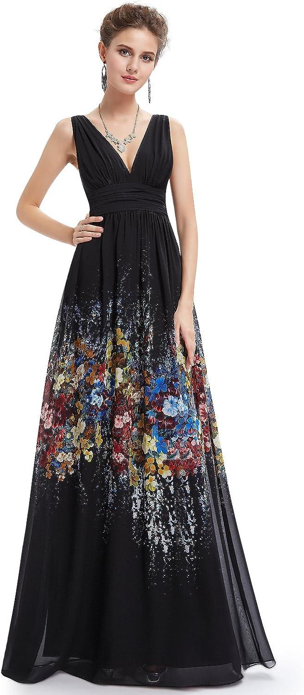 EverPretty Floral Printed Sleeveless V Neck Maxi Dress 08724