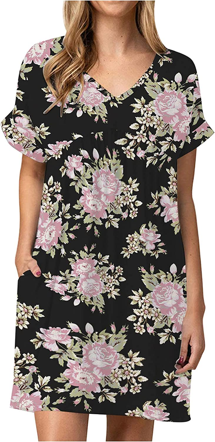 Kidyawn Summer Dresses Casual Short Sleeve V-Neck Camouflage & Floral Print Loose Mini Dress with Pockets