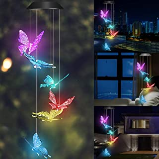 Wind Chime Solar Light Color Changing Butterfly LED Wind Chime Portable Waterproof Solar Power Wind Mobile Outdoor Decorat...