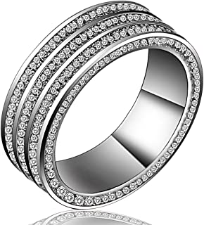 Lucky Dora Platinum Plated 3 Rows Pave Set Neutral Band Rings with CZ for Men and Women, Size from 5 to 10