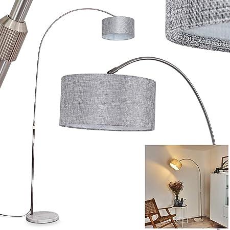 Lampadaire Belesende avec pied en marbre et abat-jour en tissu gris, élégante lampe arquée moderne avec interrupteur sur le câble, hauteur max 205 cm, pour 1 ampoule E27 max. 60 Watt, compatible LED