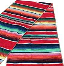 Mexican Serape Table Runner with Tassels for Mexican Home Party Decorations Christmas Thanksgiving Outdoor Wedding Ceremony, Colorful Striped Handwoven Fringe Cotton Blanket, Red,14x84 inches