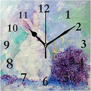 Bunny Painting Rabbit Square Wall Clock 7.8 Inch Hanging Clock for Living Room/Kitchen/Bedroom
