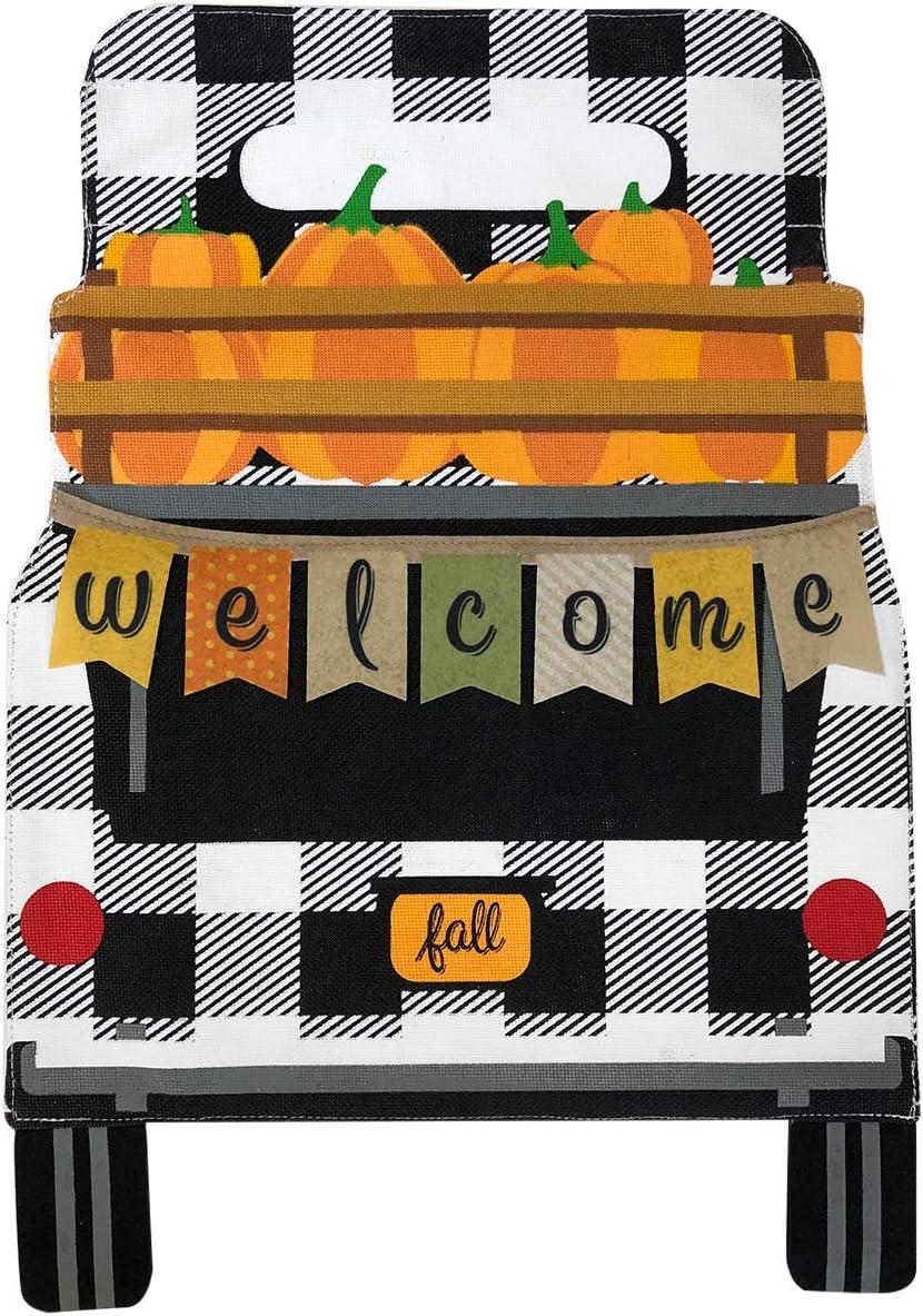 Briarwood Lane Black Checkered Truck Fall Burlap Garden Flag Pumpkins 12.5