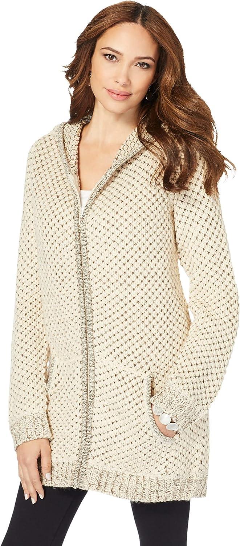 Roaman's Women's Plus Size Tweed Thermal Waffle Hoodie Cardigan Sweater
