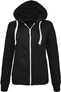 New Ladies Womens Plain Hoodie Hooded Zip TOP Zipper Sweatshirt Jacket Coat