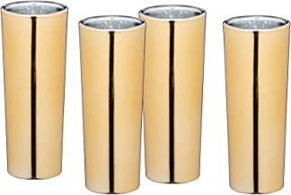 BarCraft Metallic Long Line Tall Shot Glasses with Gold Finish Set of 4