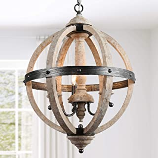 KSANA Farmhouse Chandelier, Dining Room Lighting Fixtures Hanging in Rustic Wood and Hand-Brushed Black Metal Finish, ORB Globe Pendant for Kitchen Island, Hallway, Foyer