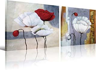 Poppy Flowers Canvas Wall Art Decor for Homes,2 Piece Prints Picture Oil Paintings On Canvas,Modern Artworks Home Office Wall Decor Stretched and Framed Ready to Hang 12x16 inch(30x40cm) 2Panels