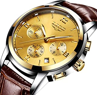Mens Watches, LIGE Watches for Men Fashion Sport Quartz Watch Analog Chronograph Date Luminous Wrist Watch Leather Strap