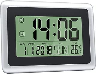HeQiao Digital Wall Clocks Large Decorative LCD Alarm Clock (Black w/Silver)