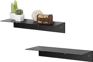 MyGift 17-Inch Wall Mounted Modern Black Metal Floating Display Shelf, Set of 2