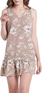 Our Heritage - Women's Chic Sleeveless V-Neck Printed Mini Dress with Pintucks