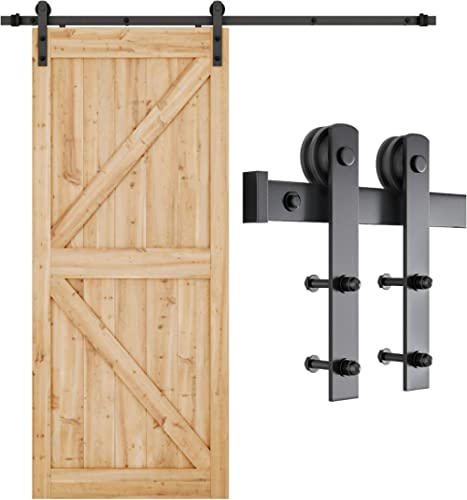 SMARTSTANDARD 6.6ft Heavy Duty Sturdy Sliding Barn Door Hardware Kit -Smoothly and Quietly -Easy to install -Includes...