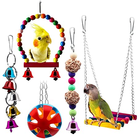 Sotoboo Wooden Snowflake Bells Bird Chew Toy Hanging Toys Boredom Breakers Parrot Macaw African Grey Budgie Parakeet Cockatiels Conure Lovebird Cockatoo  Cage Toy