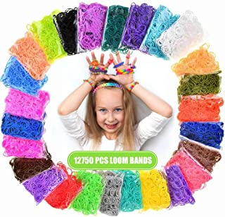 Loom Rubber Bands, 12750pcs Rainbow Rubber Band Refill Kit in 26 Colors with 500 Clips 6 Hooks, Rainbow Rubber Bands DIY Refill
