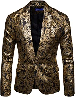 Tefamore Chaqueta de Hombre Abrigo Chaqueta para Hombre Traje Floral con Muesca Solapa Abrigo Blazer Elegante con Estilo