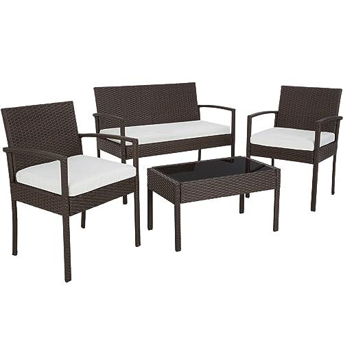 TecTake Salon de jardin Table de jardin en resine tressee chaises salon d'exterieur poly rotin - diverses couleurs au choix - (Antique Brown | No. 402113)