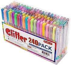 240 Pack Glitter Gel Pens, Shuttle Art 120 Colors Glitter Gel Pen Set with 120 Refills for Adult Coloring Books Craft Dood...