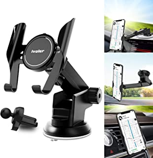 Car Phone Mount Dashboard Windshield Air Vent 3 in 1, iVoler Long Arm Car Phone Holder for Car Adjustable Strong Suction Cell Phone Car Mount Fit for iPhone X XS Max XR Samsung Galaxy Note 10 S10