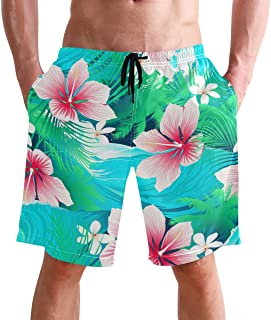 Beach Shorts, Hawaiian Floral Printed Mens Trunks Swim Short Quick Dry with Pockets for Summer Surfing Boardshorts Outdoor...