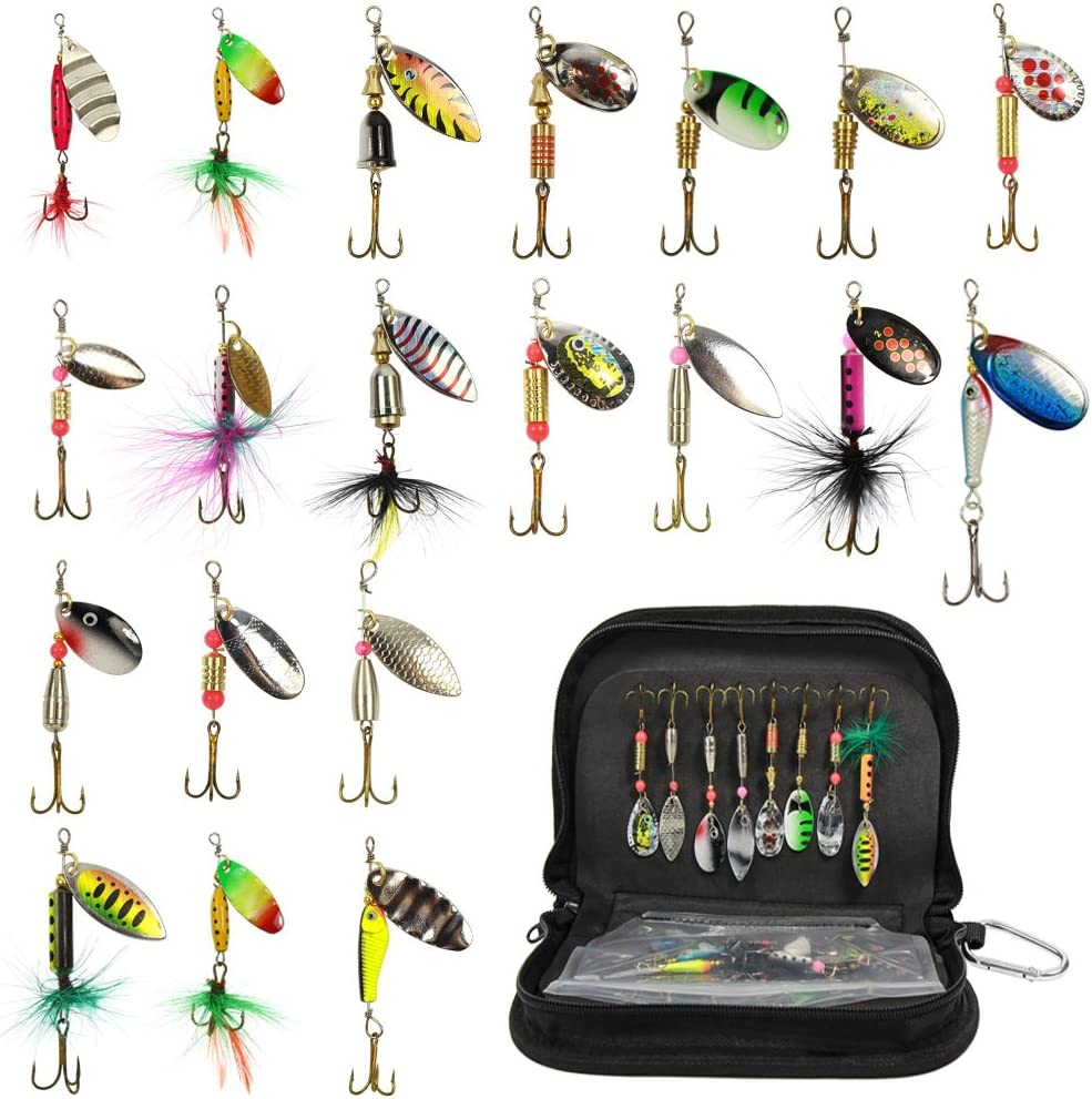 Fishing Spinner Kit 20PCS Spinnerbaits Fishing Spinning Lure Metal Bait Bass Lures for Bass, Salmon, Pike or Walleye with Portable Carry Bag : Sports & Outdoors