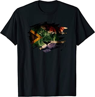 South Africa Flag and African Lion Picture - African Pride T-Shirt