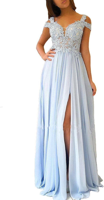 20KyleBird Women's Sexy Side Split VNeck Prom Dresses Long Off The Shoulder Lace Appliques Evening Party Gowns