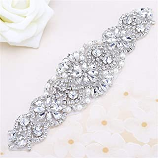 """FANGZHIDI Beaded Applique with Rhinestones and Pearls for Wedding Sash or Head 3 Colors-1 Piece(6.1""""2""""in)"""