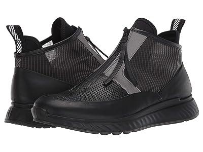 ECCO ST.1 Mid Cut Zip Sneaker (Black/Titanium) Men