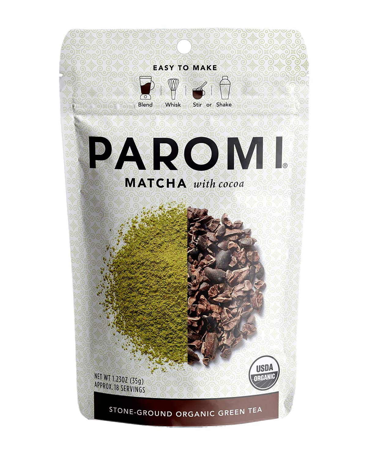 Paromi Tea Matcha San Diego Mall Outlet sale feature With Cocoa 35 Grams Organic Orga Stone-Ground