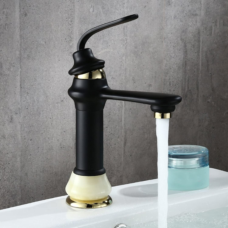 Copper black matte matte faucet black high pole basin mixer square black paint hot and cold faucet