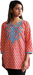 Ivy Embroidered Block Printed Solid Pure Cotton Tunic, Top, Kurti, Shirt, Blouse